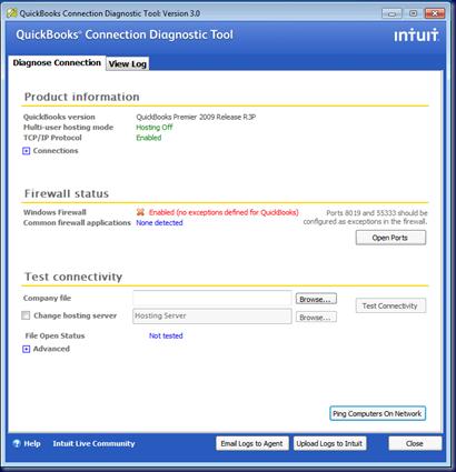 quickbooks connection diagnostic tool test connectivity