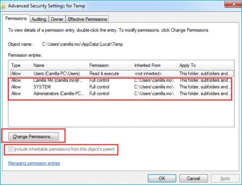 Give Windows Temp Folder Full Control Access