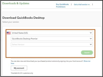 Pick the country to Download QuickBooks