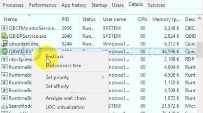 End the QBW32 Exe Process