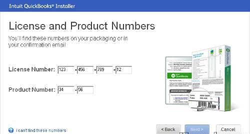 License & Product number.