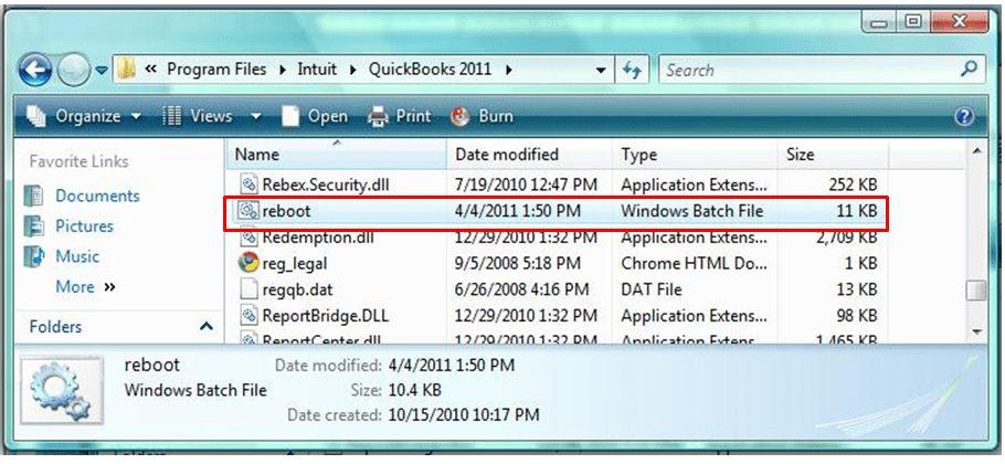 Run Reboot.bat file
