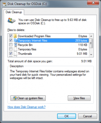 Disk Cleanup with various checkboxes