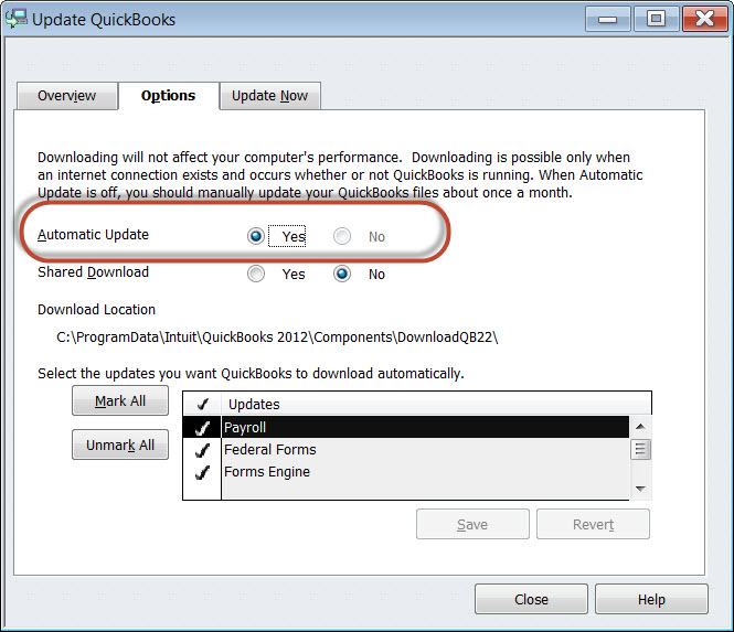 QuickBooks Software Set-Up for Automatic Updates