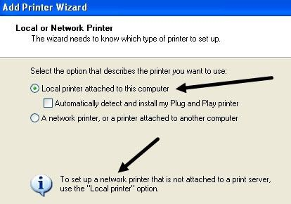 Unselect/Unmark Automatically detect and install my plug and printer option