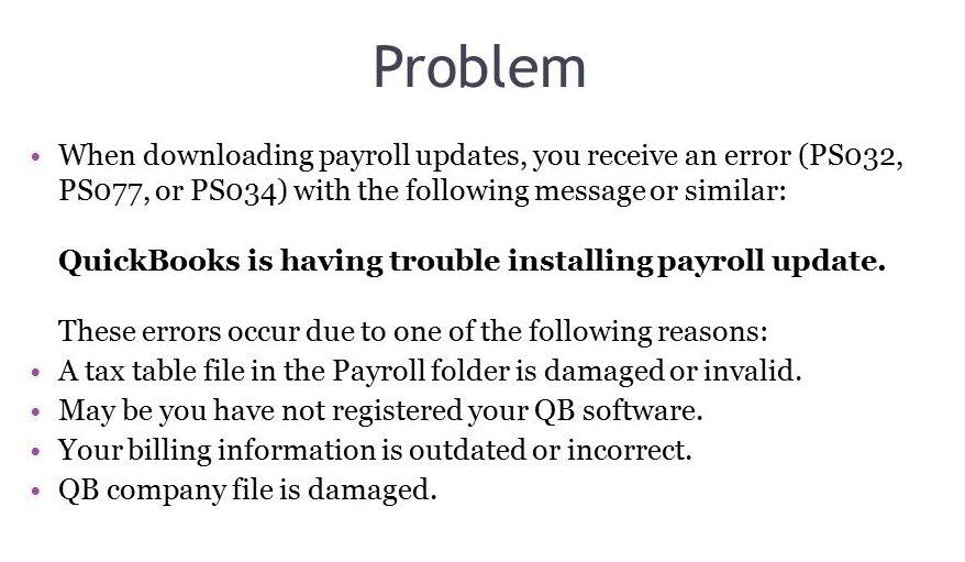 Quickbooks Payroll Update Error PS077