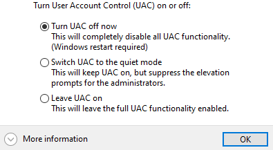 Disable UAC (User Account Control)