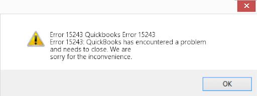 Quickbooks error 15243
